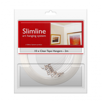 The Slimline Art Hanging System Clear Tape Droppers - Pack Shot