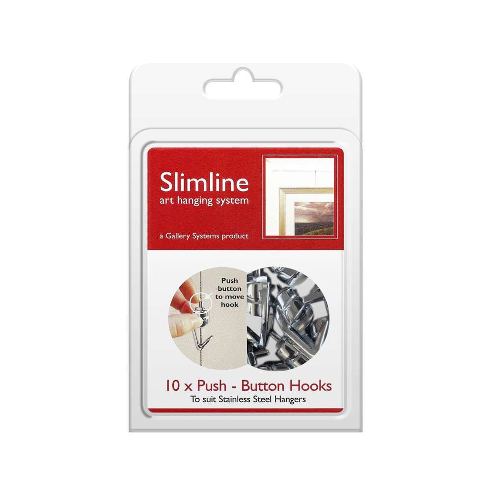 The Slimline Art Hanging System Push Button Hooks – Pack Shot