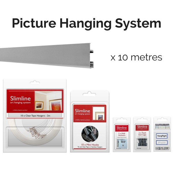 Picture Hanging Systems - 10 metres of silver track, 10 clear tape droppers, 10 hooks, wall anchors, end caps and HangRight Clips