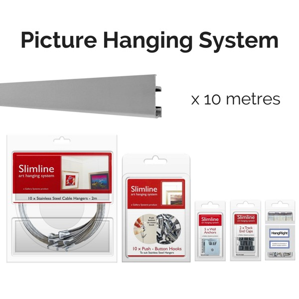 Picture Hanging Systems - 10 metres of silver track, 10 stainless steel droppers, 10 push button hooks, wall anchors, end caps and HangRight Clips